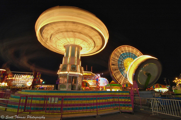 New York State Fair Midway rides at night back on September 2, 2009 in Syracuse, New York.