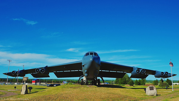 The B-52G Mohawk Valley on display outside the Griffiss Technology Park, the site of the former Griffiss Air Force Base, in Rome, New York.