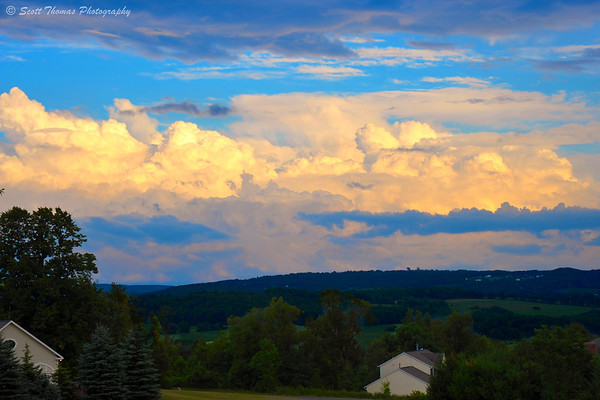 Clouds on the horizon at Field Jam at my cousin's home in LaFayette, New York.