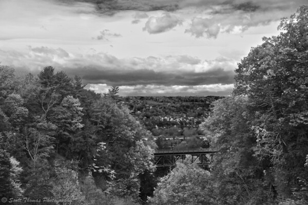 View from a pedestrian bridge near the Cornell University campus in Ithaca, New York