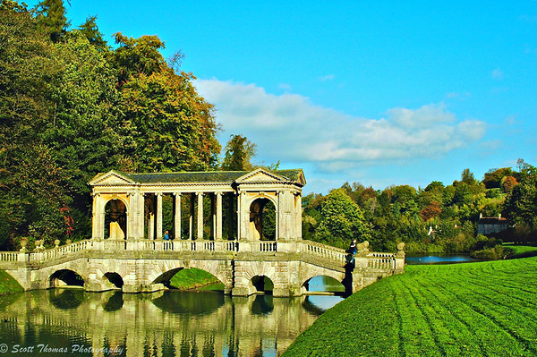 18th-century Palladian Bridge in Prior Park at Bath, England, United Kingdom.