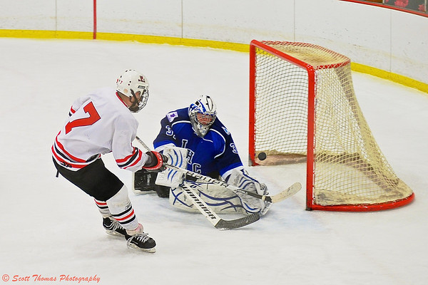 Baldwinsville Bees Parker Ferrigan (7) nets a shorthanded goal against the Watertown IHC Cavaliers.