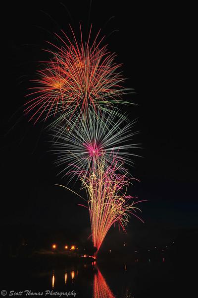 Fireworks over the Inner Harbor in Syracuse, New York.