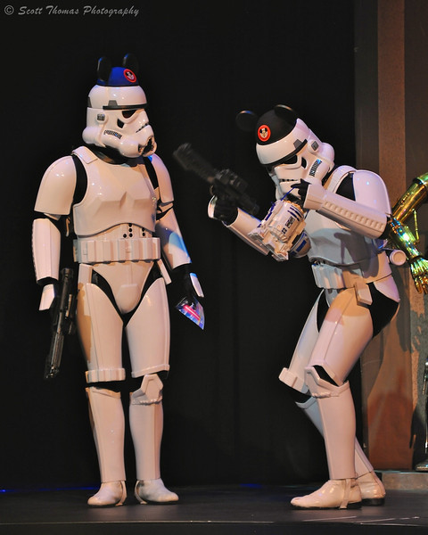 Imperial Stormtroopers talking about their day at Disney's Hollywood Studios during the Stars to the Saga pre-show during Star Wars Weekend.
