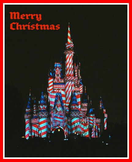 "One of the special holiday projections added to the ""The Magic, The Memories, and You!"" show on Cinderella Castle at the Magic Kingdom in Walt Disney World, Orlando, Florida."