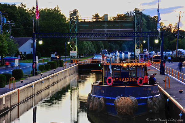 The Tugboat Syracuse sitting in Lock 24 awaiting the start of the Baldwinsville Boat Parade of Lights.