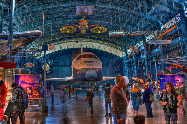 The space shuttle Enterprise is the centerpiece of the James S. McDonnell Space Hangar at the National Air and Space Museum's Steven F. Udvar-Hazy Center in Chantilly, Virginia.