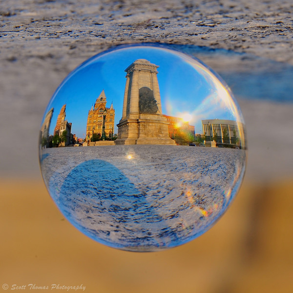 Clinton Square in Syracuse, New York through a Crystal Ball.