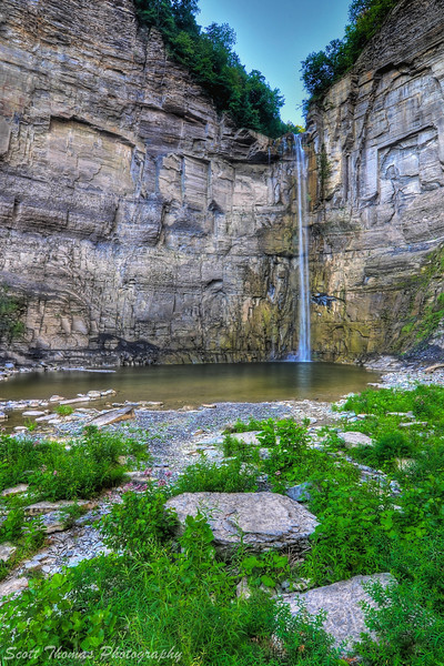 Summer water flow over the Taughannock Falls near Ithaca, New York.