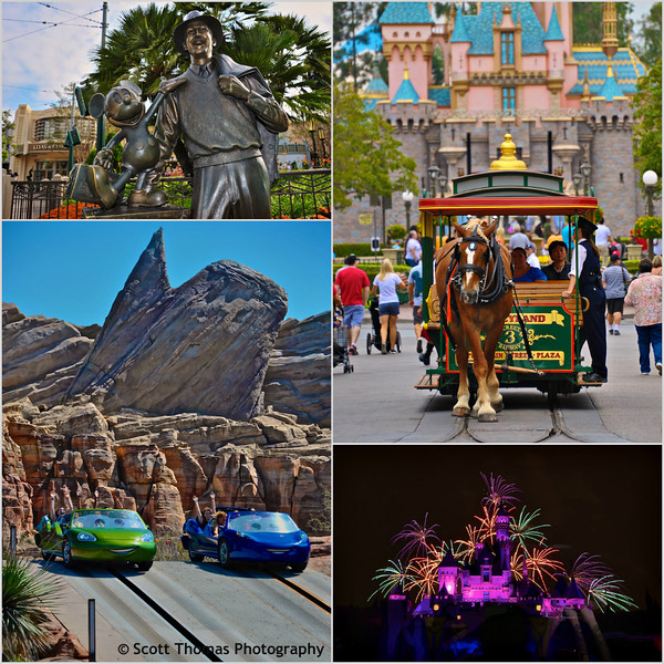 From top left: Storytellers statue on Buena Vista Street, horse drawn trolley down Main Street USA, Fireworks over Snow White's Castle and Radiator Springs Racers in Carsland.