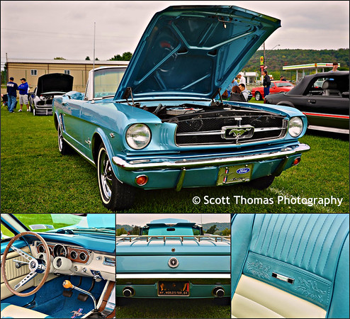 1964 1/2 Blue V8 Ford Mustang Convertible at the Broome County Fairgrounds in Whitney Point, New York on Saturday, September 20, 2014.