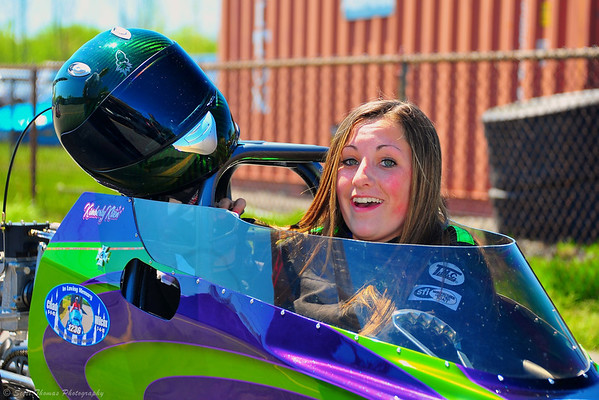 Junior Dragster driver preparing for her run at ESTA Safety Park Dragstrip near Cicero, New York.