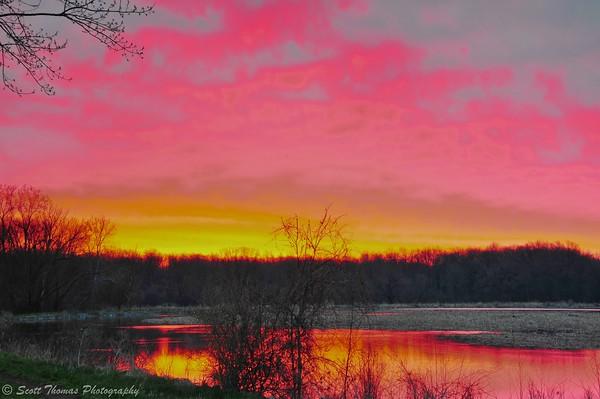 Dawn breaks over the Montezuma National Wildlife Refuge near Seneca Falls, New York.