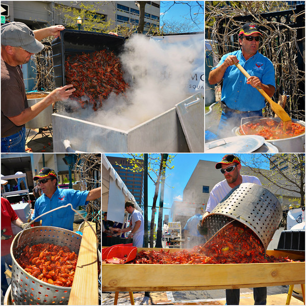 Cooking crawfish at the Crawfish Festival at Clinton Square in Syracuse, New York on Saturday, May 4, 2013.
