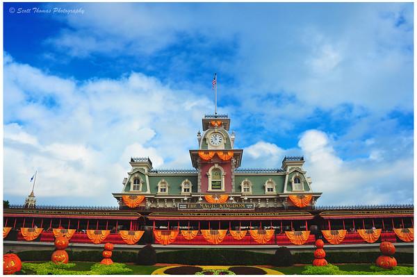 The Magic Kingdom's Main Street Train Station decorated for Halloween In Walt Disney World, Orlando, Florida.