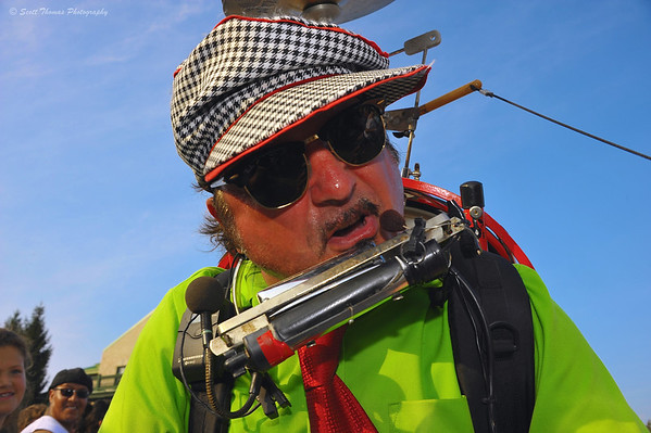 Bandaloni, THE One Man Band, leans in for a close up while entertaining at the New York State Fair in Syracuse, New York.