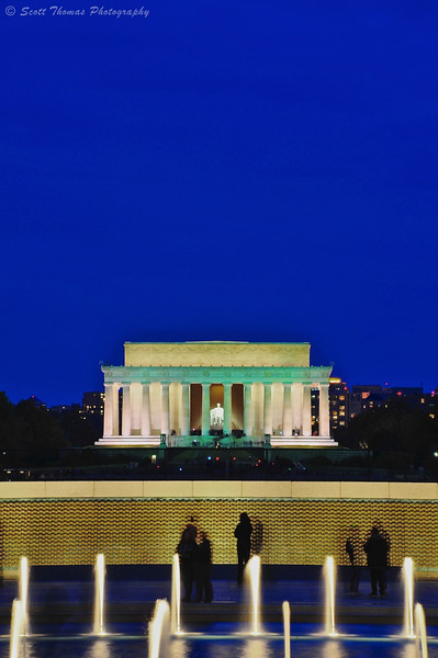 The Lincoln Memorial as seen from the World War II Memorial on the National Mall in Washington, DC.