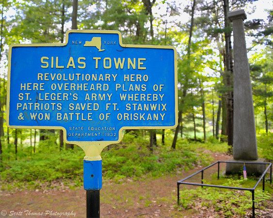 New York State Education Department historical marker at the grave site of Silas Towne at Mexico Point Park near Oswego, New York.