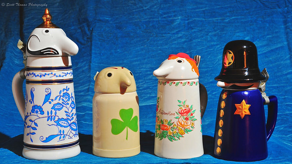 Schultz, Dooley, Countess and Officer Sudds collectible beer steins made for WEBCO by Brazilian stein maker, Ceramarte.