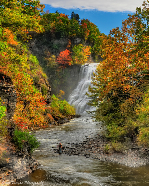 Fall Creek below Ithaca Falls accompanied by a fisherman on a beautiful autumn morning.
