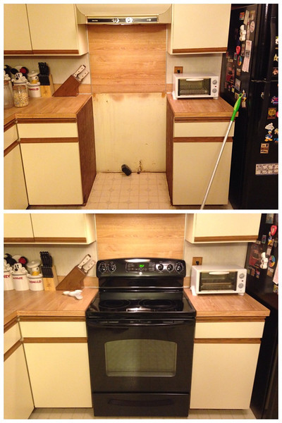 The place where our old stove was with no damage to the kitchen and the new stove installed by Sheehan's Appliance the next day.