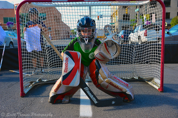 Goalie set to defend his team's goal at the Street Crunch game outside the War Memorial Arena in Syracuse, New York on Saturday, July 26, 2014.