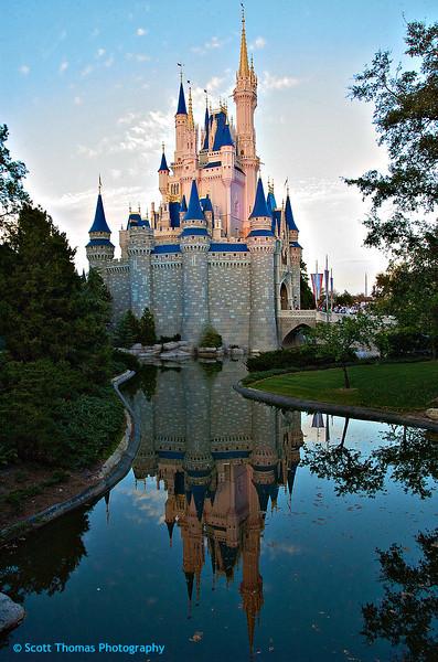 The classic Cinderella Castle photo in the Magic Kingdom at Walt Disney World, Orlando, Florida.
