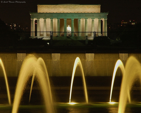 Lincoln Memorial at night as seen from the World War II Memorial in Washington, DC.