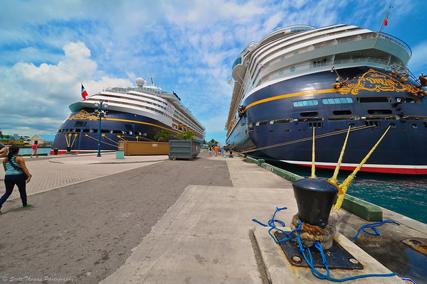 The Disney Magic (on left) was docked next to the Disney Dream at Nassau, Bahamas.