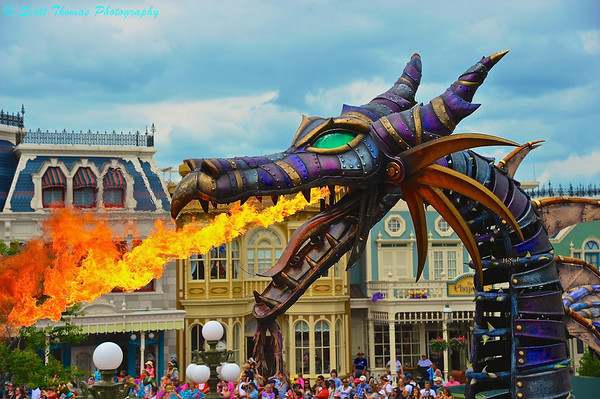 Steampunk Maleficent Fire-Breathing Dragon in the Festival of Fantasy Parade on Main Street USA in the Magic Kingdom.
