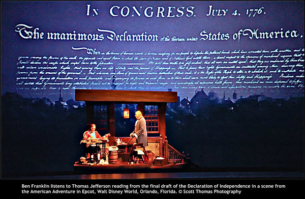 Ben Franklin listens to Thomas Jefferson reading from the final draft of the Declaration of Independence in a scene from the American Adventure in Epcot, Walt Disney World, Orlando, Florida.