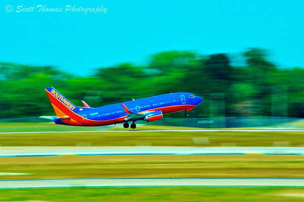 A Southwest Airline jet takes off at Lambert-St. Louis International Airport in St. Louis, Missouri.