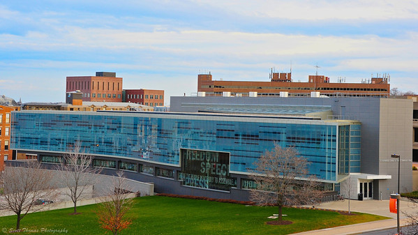Newhouse Communications Center III building on the Syracuse University campus in Syracuse, New York.