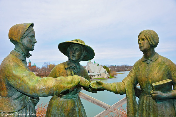 A statue in Seneca Falls, New York depicting the meeting between Susan B. Anthony (left) and Elizabeth Cady Stanton (right) by a mutual friend, Amelia Jenks Bloomer (center) in 1852.