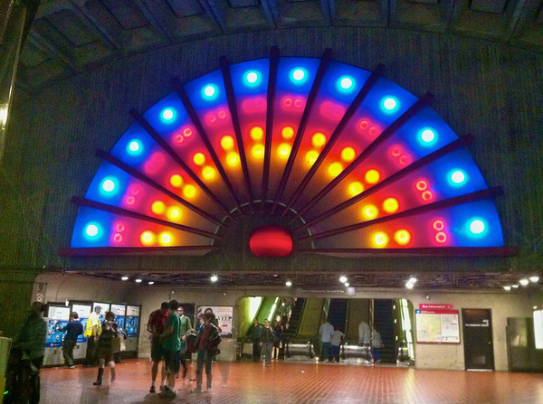 Colorful lights above the Chinatown metro station entrance/exit in Washington, DC.