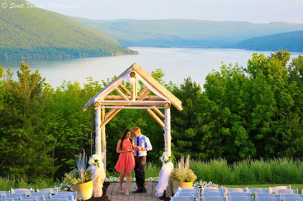 A young couple check out the wedding setup  at the Bristol Harbour Resort in Canandaigua, New York.