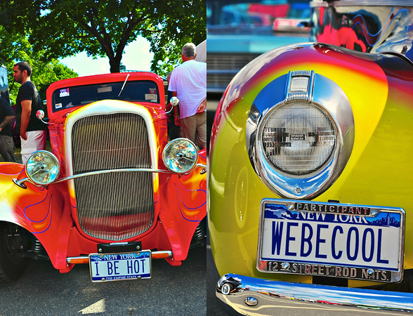 Contrasting Hot Rod Vanity License Plates.