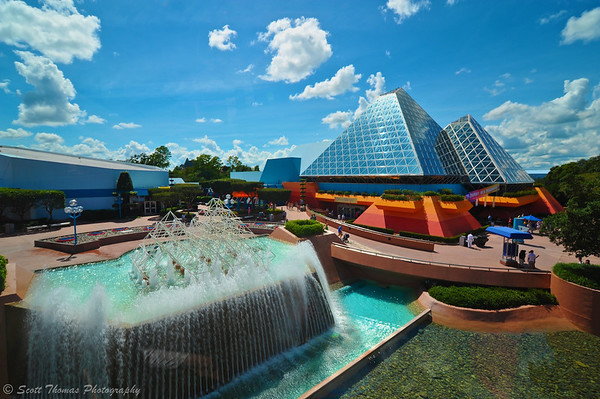 Journey Into imagination pavilion in Epcot's Future World from the monorail.