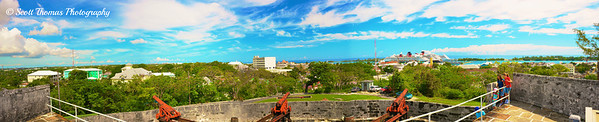 Panoramic view from the top of Fort Fincastle on Nassau in the Bahamas.