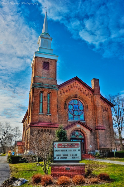 First United Methodist Church in Baldwinsville, New York with its new steeple in place.