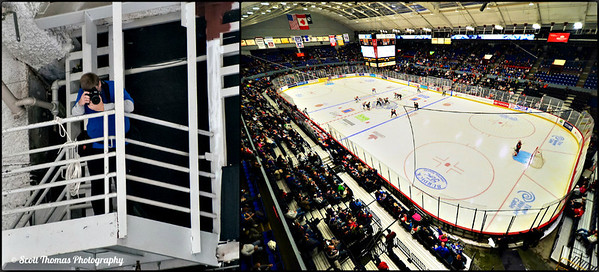 The War Memorial arena in Syracuse, New York from the media perch up in the rafters.