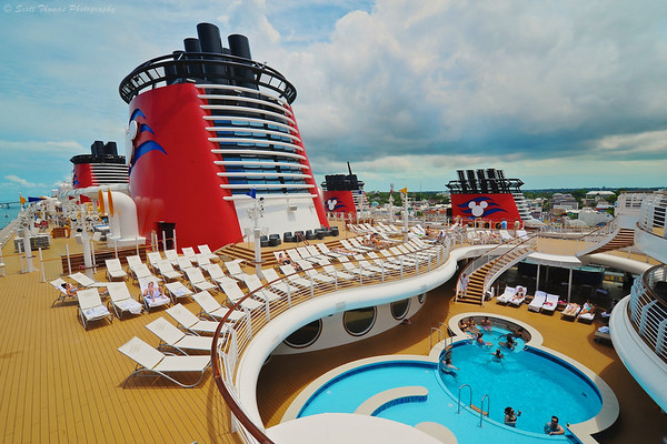 Adult pool area on the Disney Dream cruise ship while it is docked at Nassau, Bahamas.