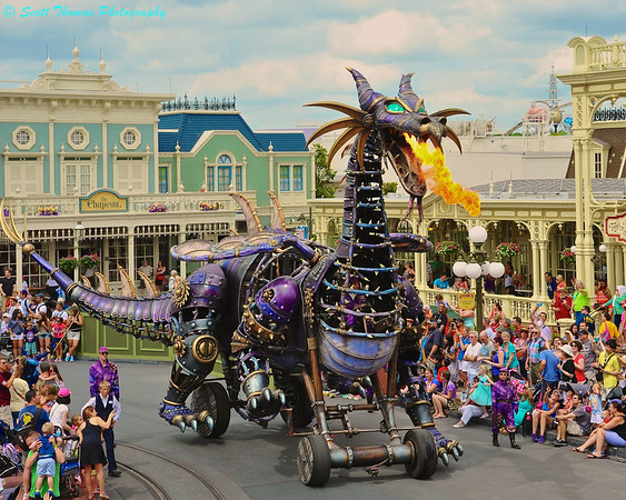 Sleeping Beauty float in the Festival of Fantasy parade at the Magic Kingdom features a Steampunk-inspired Dragon as the wicked Maleficent.  The float measures 53 feet (16m) in length and 26 feet (8m) tall when the dragon is breathing fire.