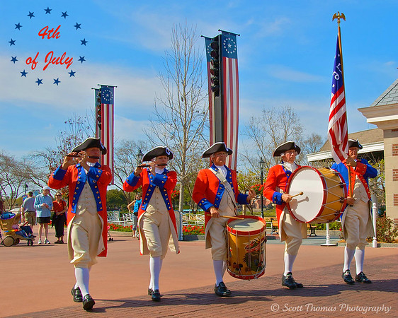 Spirit of America Fife & Drum Corps perform in front of the American Adventure pavilion.
