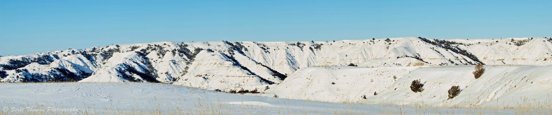 Theodore Roosevelt National Park panoramic landscape of the Theodore Roosevelt National Park near Medora, North Dakota from January of 2010.