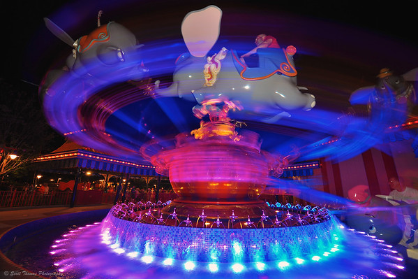 Dumbo ride in Storybook Circus.  Its new home in the Magic Kingdom, Walt Disney World, Orlando, Florida.