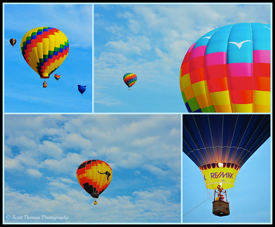 Hot Air Balloons in the sky above the Syracuse Balloonfest at the Jamesville Beach Park.