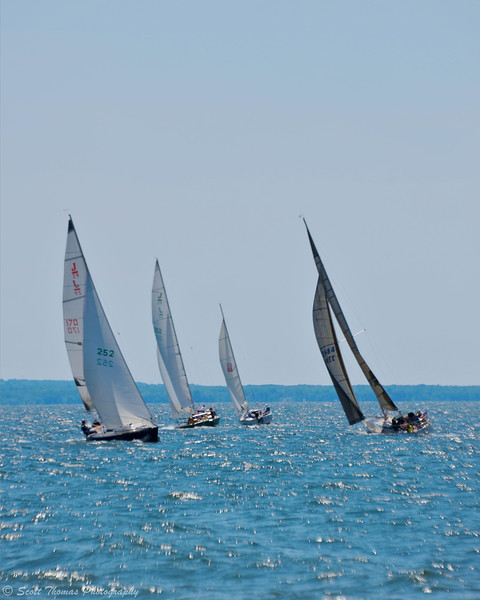 Yachting club out of Oswego racing off the eastern shore of Lake Ontario.