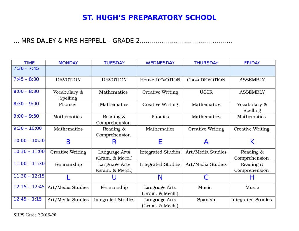 Grade 2 Timetable 20