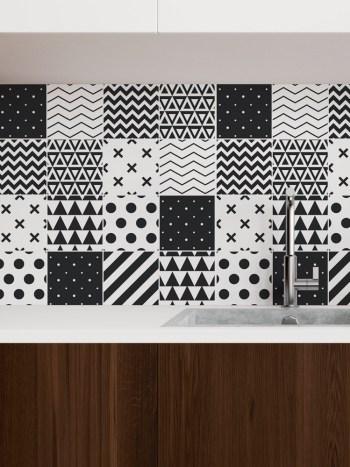 Papel de Parede Adesivo Azulejo Formas Preto e Branco